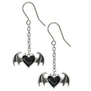 Alchemy Gothic Winged Black Heart Dangle Earrings